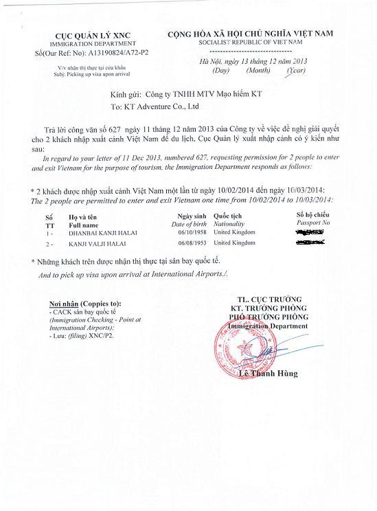 on application form for entry and exit visa vietnam
